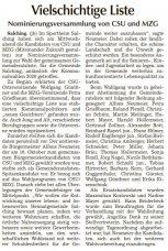 Vielschichtige Liste (Quelle: SR Tagblatt)