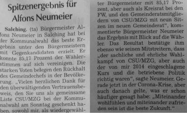 Spitzenergebnis für Alfons Neumeier (Quelle: SR Tagblatt)