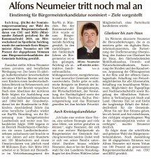 Alfons Neumeier tritt nochmal an (Quelle: SR Tagblatt)