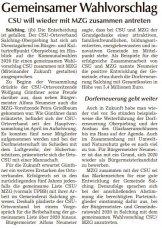 Gemeinsamer Wahlvorschlag (Quelle: SR Tagblatt)